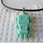 ROBOTS RULE - cool robot pendant handmade in teal
