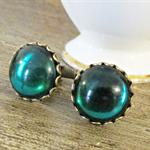 Emerald Green Cufflinks Vintage Cabochon Wedding Groom Father Cuff Links Brass