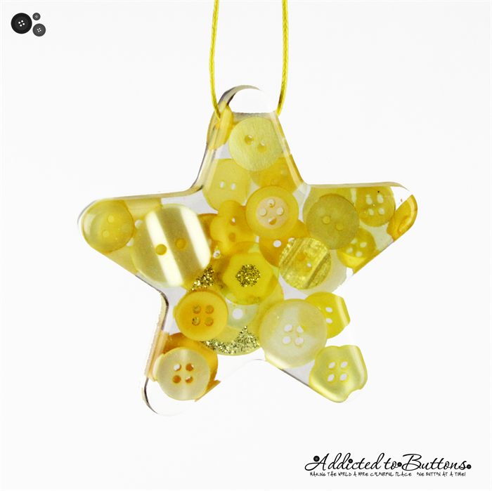 christmas button star single yellow button resin christmas decorations - Yellow Christmas Decorations