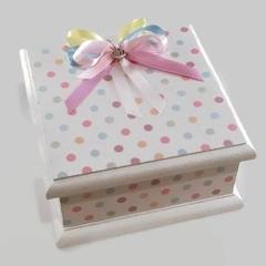 Baby Keepsake Trinket Treasure Memory Wooden Box - Polka Dots