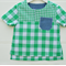 Boys casual shirt - green and white gingham, top for boys, summer shirt