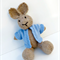 Peter the  Hand Knitted Bunny Rabbit Toy with Blue Jacket