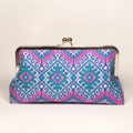 Camel in blue large clutch purse