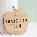 Teacher Gift Custom made decoration ornament bamboo ply wood personalised apple