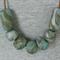 BOTANICALS - BLUEGUM Marbled Polymer Clay on Tan Leather blue-khaki-grey