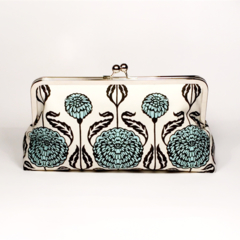Aqua flowers large clutch purse