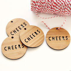 4 Bamboo Christmas Gift Tags, Cheers, Gift Wrapping, Christmas Decorations