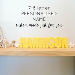 PERSONALISED NAME ORNAMENT - custom made resin name decoration - 7-8 letters