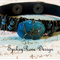 Funky Black Leather Bracelet with Teal Agate Bead