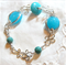 Gorgeous Bracelet with Aqua Handcrafted Lampwork Beads