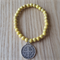 Yellow Howlite and Antique  Silver Bracelet