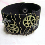 Funky Black Wirewrapped Leather