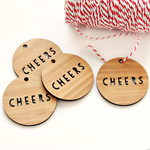 4 Cheers tags bamboo word tags thank you Christmas food gift