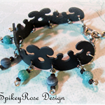 Funky Black Leather Bracelet with Teal Agate Beads
