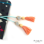Peach/Silver/Light Blue Tassel Bookmark