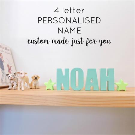 PERSONALISED NAME ORNAMENT - custom made resin name decoration - 4 letters