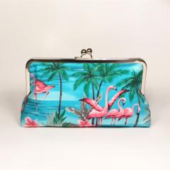 Turquise Flamingos large clutch purse