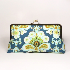 French wallpaper in teal large clutch purse