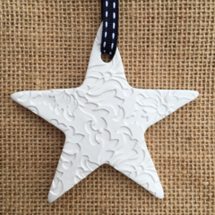 3 x CLAY PERSONALISED CHRISTMAS DECORATION STAR HEART  TEACHER GIFT  EMBOSSED