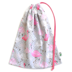 Flamingo Library Bag or Book Bag. Gorgeous Pink and Grey Fabric.