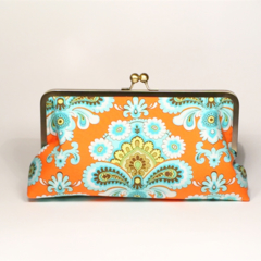 French wallpaper in orange large clutch purse