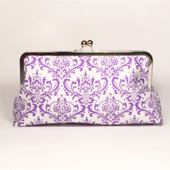 Purple damask large clutch purse