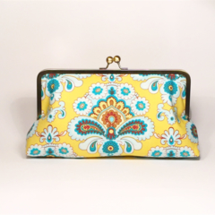 French wallpaper in yellow large clutch purse
