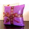 Shiny Purple Christmas Cushion Cover with Gold Stars on Burgundy Ribbon