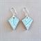 Decoupage wood earrings on silver hooks with turquoise filigree pattern