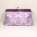 Purple damask large clutch purse