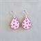 Decoupage wood earrings on silver hooks with pink heart pattern
