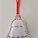 Bell Christmas Ornament / Felt / White / Red / Gold Bell / Hand sewn