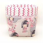 Reversible Fabric Bucket - China Doll Pink Blossoms (15cm sq base)