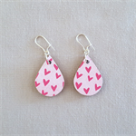 Decoupage wood earrings on silver hooks with pink heart pattern