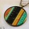 Large round resin women's pendant necklace, vintage measuring tape ruler print