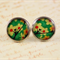 Women's round resin silver stud earrings, colourful cherry blossom art print