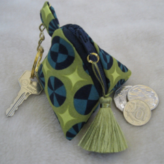 Olive Green and Teal Geometric Pyramid Coin Purse