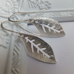Rhodium Matt Leaf Earrings