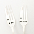 I Do Me Too - Vintage Silver Wedding Cake Forks - Hand Stamped Cutlery Gift