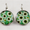 Women's round resin silver drop earrings, white daisy daisies floral art print