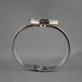 Women's round resin silver cuff bracelet bangle, vintage hot air balloon print