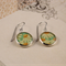Women's round resin silver drop dangle earrings white daisy daisies floral print