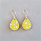 Decoupage wood earrings on silver hooks with yellow floral pattern