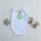 Mint with Gold Spots Christmas Baby Girl Top with lace sleeves