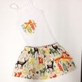 Woodland Animal and Feather Girls Skirt and Singlet set- Size 00-5