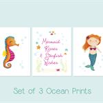 Set of 3 Wall Art - Ocean Decor - Kids Art - Glitter Art - Mermaid Painting