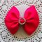 Simple Bow Hair Clip - Shocking Pink