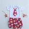 Gorgeous Santa Christmas Outfit - Shorties Bloomers + Santa Tie Onesie
