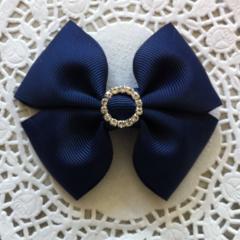 Simple Bow Hair Clip - Navy