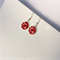 Red flower Venetian millefiori drop earrings
